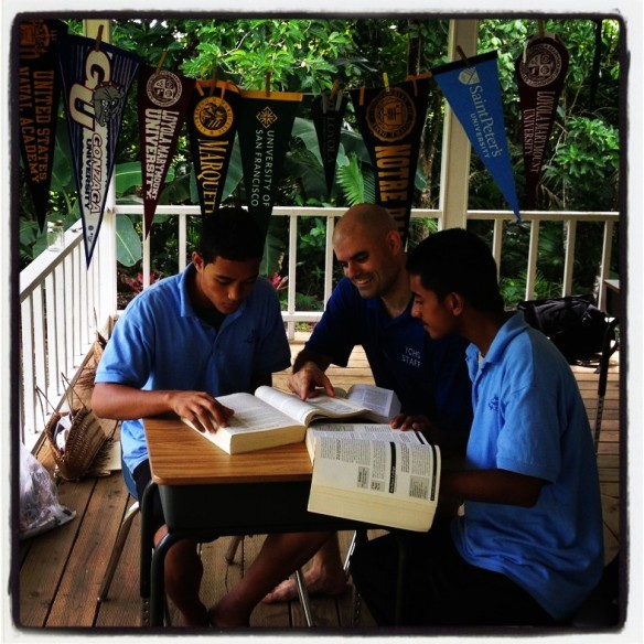 Patrick Nolan, SJ, has joined Yap Catholic High School faculty in the Federated States of Micronesia for the 2013-2014 school year. He is already at work counseling students.