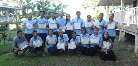 On January 17, Yap Catholic High School in Micronesia awarded students for their hard work during the year's second quarter. Three students were awarded with first honors, eighteen were awarded with second honors (pictured above) and twenty-two students were awarded for perfect attendance.