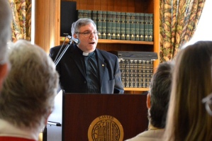 Fr. Mark Lewis, SJ, provincial of the New Orleans Province led the discussion on the restoration.