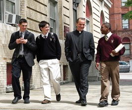Fr. Robert Resier, SJ, chats with students from Saint Peter's prep during his time as president there.