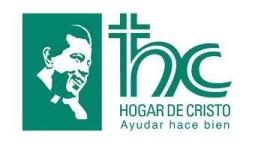 The logo of the Hogar de Cristo with an image of their founder.