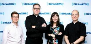The hosts of America This Week from left to right Tim Reidy, Matt Malone, SJ, Kerry Weber and James Martin, SJ.