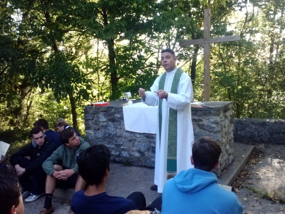 Fr. Chuck Frederico, SJ, vocation director for the Maryland, New England and New York provinces recently presided at a Mass for the Georgetown Prep senior retreat leaders at the Bishop Claggett Retreat Center in Adamstown, Md.