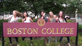 A group of Boston College students dancing in the BC Shake It Off video.