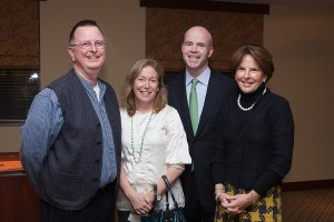 Pictured from left to right: Fr. Myles Sheehan, SJ, Lisa and Jim Mooney (chairs of the Jesuit GALA) and Mary Coffey Moran.