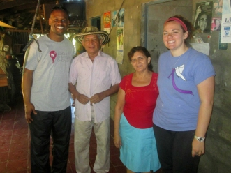 From left to right – K.C. MMeje (assistant vice president, Student Life at Loyola University Chicago), Don Beto and Lydia (Delegation's host family in Carasque, El Salvador), and Maura Toomb
